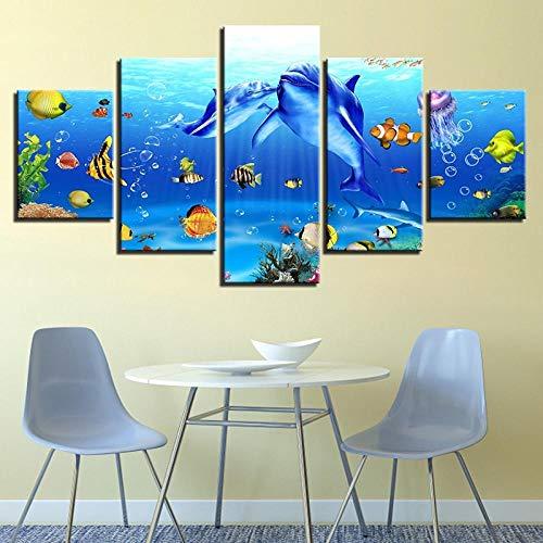 Arxyd 5 stuks muurkunst schilderij modulaire thuisdecoratie druk HD poster op canvas 5 stuks leeuwenroestafbeeldingen op spiegel wandafbeeldingen voor woonkamer afdrukken quad 200*100 CM A2.