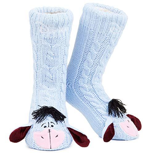 Disney Eeyore Slipper Socks, Cute Fleece Lined Non Slip Socks, Gifts for...