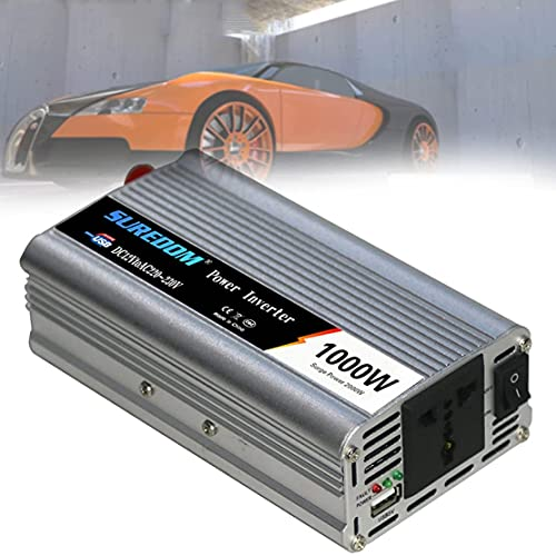 SGSG Inversor de Corriente de 1000 vatios, inversor de Coche de Onda sinusoidal modificada, convertidor de CC a CA, con indicador LED, Puertos USB y tomacorrientes de CA, Adaptador de Cargador US
