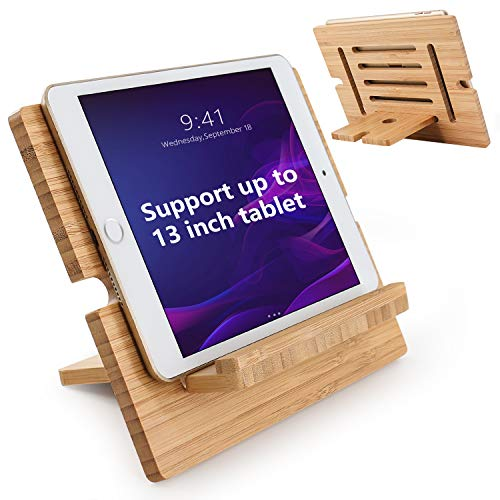 Bamboo Tablet Stand Adjustable, Pezin & Hulin Desktop Cell Phone Stand Holder Dock Compatible with Pad 9.7, 10.5, 12.9, Air 2 3 4 Mini, Kindle, Phone 8 Plus X XS Max XR (Support to 4.7-13' Devices)