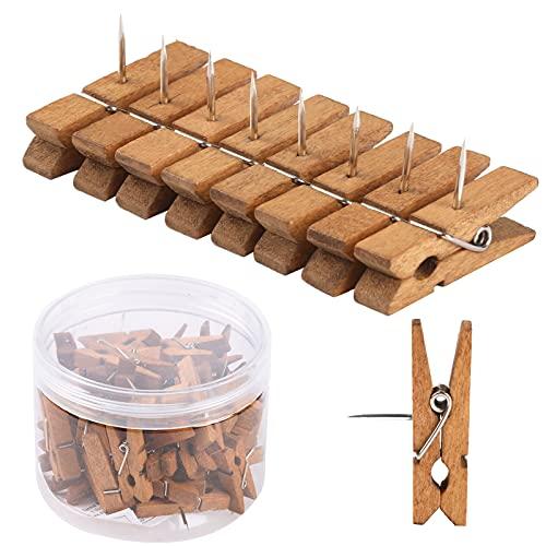 50 PCS Push Pin with Wooden Clips, Durable Wooden Push Pins, Decorative Pushpins Tacks Thumbtacks, Tacks for Cork Board Artworks Notes Photos, Craft Projects, Offices and Homes