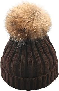 Pongfunsy Kids Girls Boys Winter Knit Beanie Hat Faux Fur Pom Pom Hat Bobble Ski Cap Toddler Baby Hats 1-10 Years Old