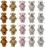 zorpia 20 Pieces Mini Bear Small Bears Doll Plush Soft Animal Toys Tiny Stuffed Bear for Birthday Cake Wedding Decorations Party Favors, Mix White/Cream/Pink/Light Brown/Brown 5 Colors