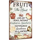 Putuo Decor Fruit of The Spirit Sign, Summer Vintage Wall Art Decorations for Kitchen, Cafe Bar, Farmhouse, Front Porch, Fruit Market, 12x8 Inches Aluminum Metal Sign