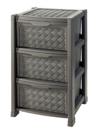Kreher Hochwertiger Geflechtschrank mit 3 Schubladen aus Kunststoff 39 x 39 x 63,5 cm - ideal fürs Bad als Unterschrank, Farbe: Wenge
