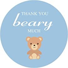 MAGJUCHE Blue Teddy Bear Thank You Stickers, Boy's Baby Shower or Birthday Party Favor Sticker Labels, 2 inch, 40-Pack