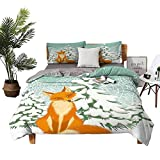 DRAGON VINES All Season Bed Sheets Fox Queen Bed Sheets Red Fox Sitting in Winter Forest Snow Covered Pine Trees Xmas Cartoon W79 xL90 Orange White Almond Green