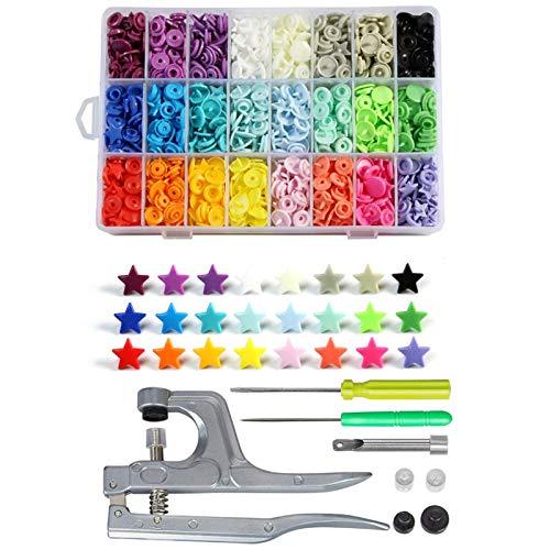 Accesorios de costura Botón de bricolaje Presione MÁQUINA T5 PLÁSTICO PLÁSTICO Botón Snap con kit de herramientas de alicates SNAPS y envases de organizador, fácil sustitución de broches para