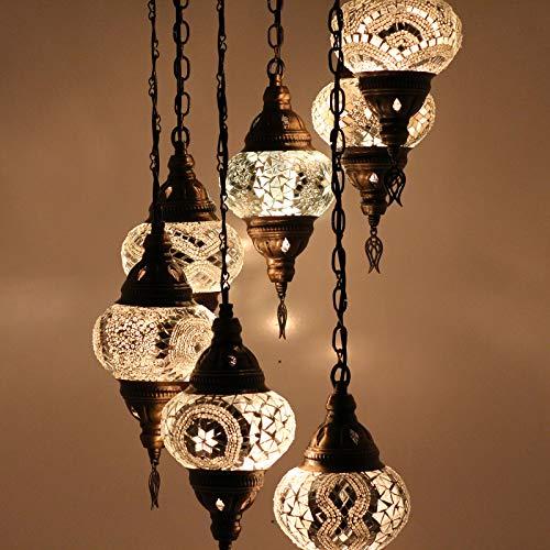 Lámpara colgante de techo de Tiffany con mosaico turco marroquí personalizable 7 globos