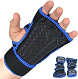 Grip Power Pads Cross Training Gloves with Wrist Support for Weightlifting & Fitness, Silicone Padding WODs, Gym Workout, No Calluses for Men & Women The Best Weight Lifting Gloves (Blue, Large)