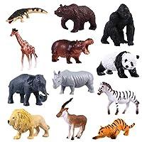 TOYMYTOY 動物模型 モデル 野生動物 おもちゃ 人気動物 フィギュア 動物園 森の情景コレクション 教育認知 動物園 誕生日 プレゼント 知育玩具 12pcs