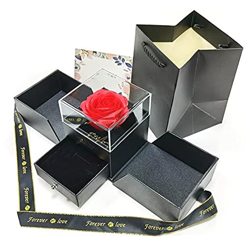 Hrsptudorc Preserved Red Rose Jewelry Gift Drawer Box, Handmade Enchanted Forever Rose Flower Gift Box, Black Silk Flower Arrangements