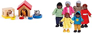 Family Pets Wooden Dollhouse Animal Set by Hape | Complete Your Wooden Dolls House with Happy Dog, Cat & African American ...