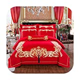 Juego de funda de edredón de algodón rojo N/A para cama de matrimonio, tamaño king, juego de sábanas bordadas, regalo de boda, fundas de almohada, algodón, Juego de cama 2, King size 4pcs