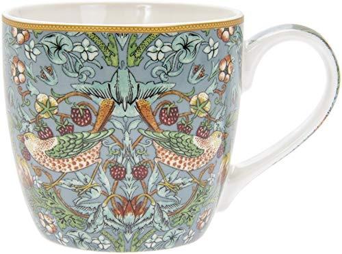 The Leonardo Collection Taza de desayuno, diseño de ladrón de fresas, diseño de William Morris, pájaros, flores y plantas, porcelana fina, LP94029
