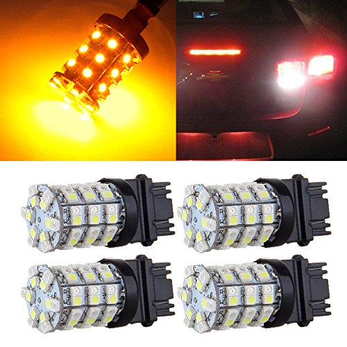 cciyu 4 pcs 3157 60-SMD White/Amber Dual Color Switchback LED Bulbs Replacement fit for Car Turn Brake Signal Light
