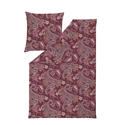 ESTELLA Bettwäsche Merle | Bordeaux | 135x200 + 80x80 cm | bügelfreie Interlock-Jersey-Qualität | pflegeleicht und trocknerfest | ideale Vier-Jahreszeiten-Bettwäsche | 100% Baumwolle