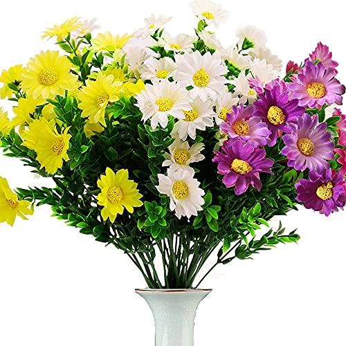 Fleurs Artificielles 8 Pièces Fleur Artificielle Exterieur pour Decoration Maison Deco Marguerite Artificielle Jardin Extérieur Blanc Jaune Violet