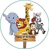 19 cm círculo redondo safari animales pastel Topper impreso papel comestible oblea personalizado
