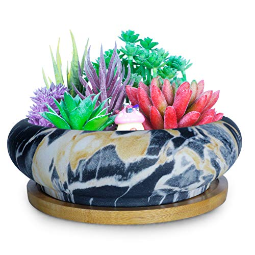 Artketty Marble Ceramic Succulent Cactus Plant Pot, Large Round Bonsai Planter Bowl with Drainage Bamboo Tray, Decorative Garden Flower Plant Container Perfect for Home/Office Decor