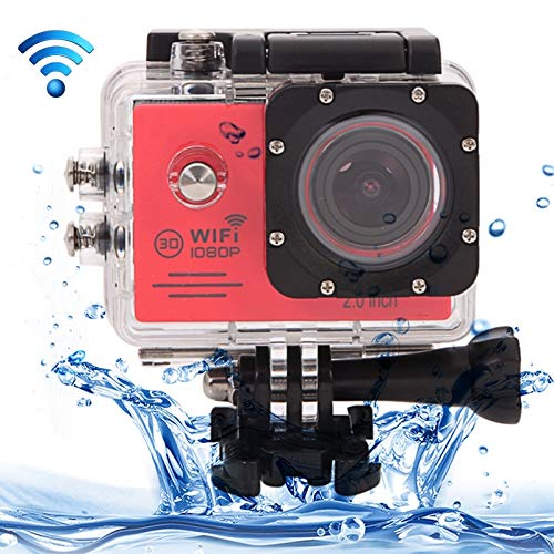 M-Fire Car Other Camera SJ7000 Full HD 1080P 2.0 inch LCD Screen Novatek 96655 WiFi Sports Camcorder Camera with Waterproof Case, 170 Degrees HD Wide-Angle Lens, 30m Waterproof(Black) (Color : Red)