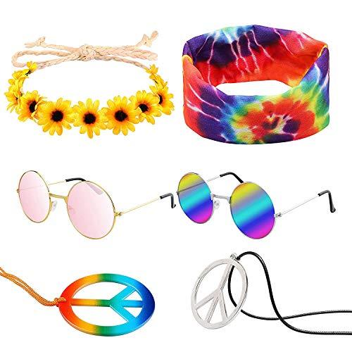 WATINC 7Pcs Hippie Costume Set Round Hippie Sunglasses Sunflower Headband Peace Sign Necklace Rainbow Tie Dye Headband 60s 70s Retro Hippie Dressing Accessories for Women Men