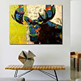YYJHMK Colorful Moose Graffiti Animal Picture Canvas Print Decoration Oil Painting Picture for Bedroom Industrial Living Room