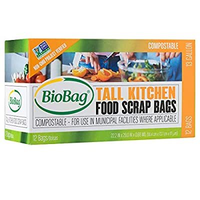 BioBag Compostable Tall Kitchen Food Scrap Bags, 13 Gallon, 144 Count