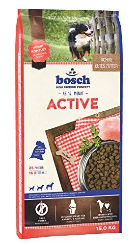 bosch HPC Active | Alimento seco para perros adultos de todas las razas con mayor actividad | 1 x 15 kg