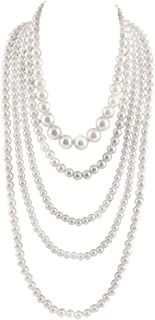 Multilayer Strand Chain Faux Pearls Flapper Beads Cluster Long Choker Necklace