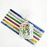 Juego de 80 piezas de papel plegable con caja de origami de la suerte con colores mezclados de colores de la estrella del deseo, tiras de papel para manualidades, material de regalo