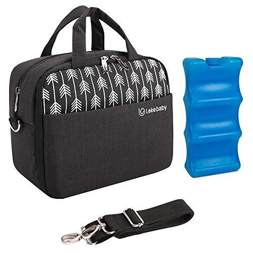 Lekebaby Breast Milk Cooler Bag with Contoured Ice Pack Fits 6 Baby Bottles Tote Bag for Daycare Travel Nursing Mothers Storage, Black