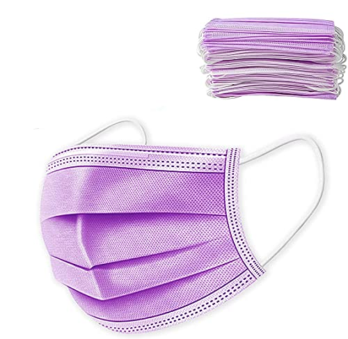 50 PCS Purple Disposable Face Mask, 3 Layers Filter Non-Woven Breathable Safety Mask Anti Dust with Elastic Earloops for Adult, Men, Women, Indoor, Outdoor Use