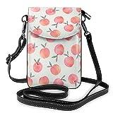 Patrón de melocotón rosa que imprime el pequeño monedero del teléfono celular,Bolso bandolera pequeño bolso del bolso del teléfono celular