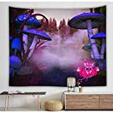 RTEAQ Tapiz de Seta de Bosque de fantasía psicodélica para Colgar en la Pared, decoración de Fondo para Dormitorio, Tela, Tapiz Hippie, Tapiz de pared-59x79inch(150x200cm)