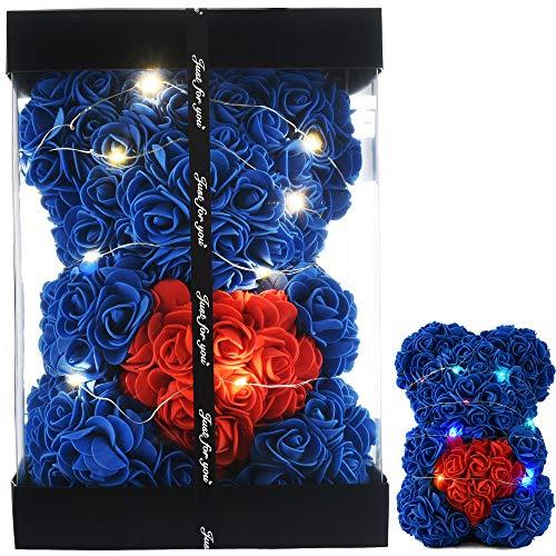 Ours en Rose Ours Rose Nounours en Rose Ours en Peluche - Cadeaux Femme pour Maman Cadeau pour Petite Amie Cadeaux pour Elle, Ours en Peluche Rose Fleur Rose Ours Anniversaire Petite (Bleu Royal)