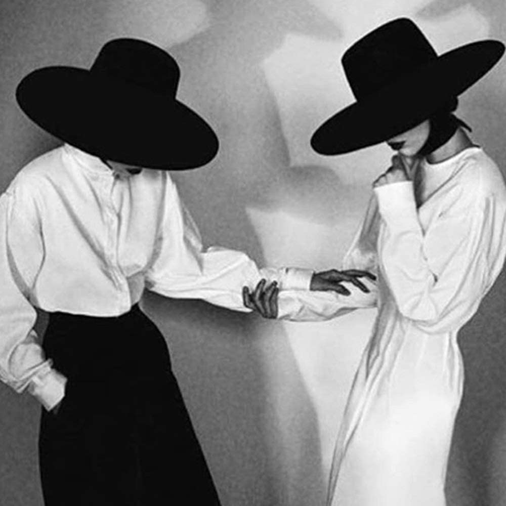 HXGAZXJQ Hxgang 100% Wool Black Men Women Fedora Top Hat Flat Jazz Hat Wide Brim Cap Hat Bowler Hat Size 56-58CM (Color : Black, Size : 57-58)