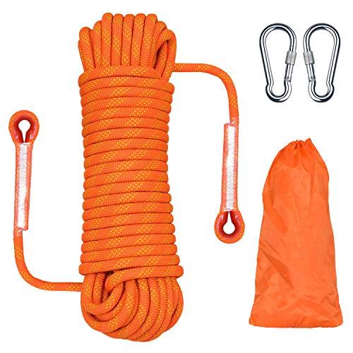 Cuerda de escalada para exteriores, 20 m de longitud, cuerda de nylon de seguridad de cordón de alta resistencia de extracción de 1200 kg, cuerda de escape Paracaídas de rescate contra incendios