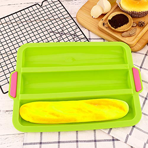 YARNOW Bread Forms Square Shape Bread Molds, Silicone Non-stick Fench Bread Trays 13 x 9 3 Loaf Bread Pan Baguette Mould (Green)
