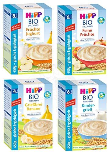 Hipp Bio Milchbrei Mix, 4 Sorten: Kindergrieß, Feine Früchte, Banane und Früchte Joghurt (4 x 450g)
