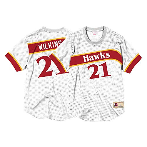 Mitchell & Ness Hawks Mens Dominique Wilkins White Mesh Jersey Shirt (Medium)
