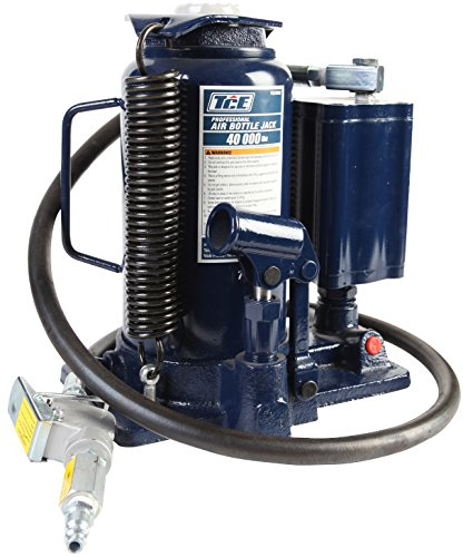 TCE TCE31001 Torin Pneumatic Air Hydraulic Bottle Jack with Manual Hand Pump, 20 Ton (40,000 lb) Capacity, Blue