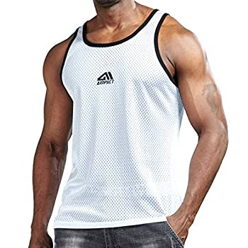 AIMPACT Men Athletic Workout Tank Top Mesh Quick Dry Jersey Casual Sleeveless Shirts White L