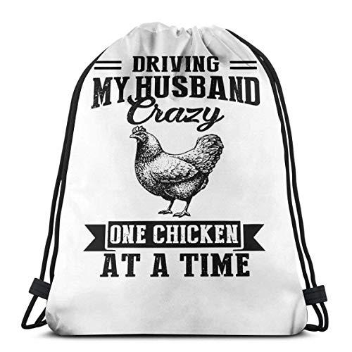 Cinch Bags Driving My Husband Crazy One Chicken S Sports Drawstring Bag School Gift Birthday Print Cinch Bags Mochila con cordón universal casual para hombres regalo fitness bolsa al aire libre Trav