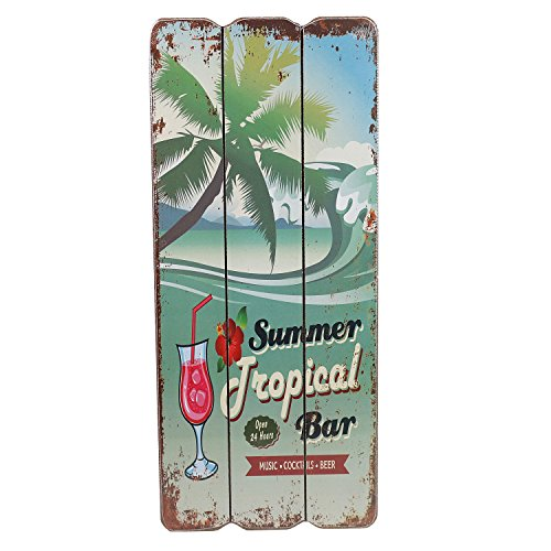 Cartel de madera vintage, diseño con texto Beach Bar, Welcome, Coctails, Beer, Tropical Bar, Cartel para pared, MDF, decoración para pared, placa para puerta decorativa, playa, vacaciones, 34 x 15 cm, madera, Tropical Bar, 34cm hoch, 15cm breit und 1cm tief