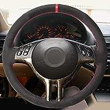JIANGJUNCHE Cubierta Negra del Volante del Coche Cosida a Mano de Bricolaje para BMW E39 E46 325i E53 X5,Red