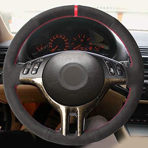 JIANGJUNCHE Cubierta Negra del Volante del Coche Cosida a Mano de Bricolaje para BMW E39 E46 325i E53 X5