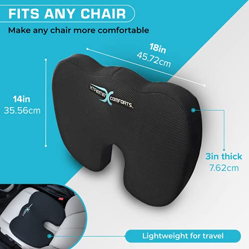 Xtreme Comforts Desk Chair Cushions for Back Support and Tailbone Relief - Memory Foam Coccyx Seat Cushion w/ Handle for Home Office or Travel - Original