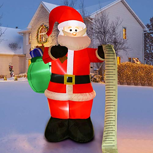 YUNLIGHTS 6 Feet Christmas Inflatable Santa Claus Air Blown Christmas Inflatables with White LED Light for Outdoor and Indoor Decorations Lighted Christmas Decorations for Yard/Patio/Garden