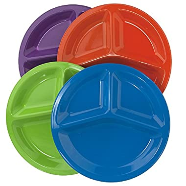 | Set of 12 | Premium Quality Unbreakable Plastic 10  Divided Plates in 4 Assorted Colors
